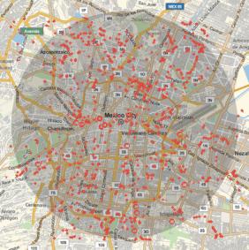 Geolocalización de los cajeros en la ciudad de México, MAHT2015